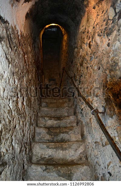 Stone Stairs Cave Rope Railing Stock Photo Edit Now 1126992806