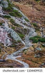 Stone stairs hiking fall landscape Norway Kjerag