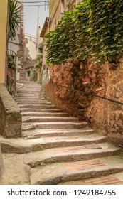 Stone stairs of narrow streets of Cinque Terre, Vernazza - Italy