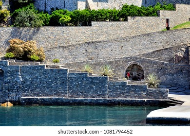 stone stairs on the water's edge in Mount Athos