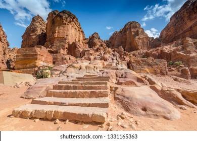 Stone Stairs towards the High Place of Sacrifice, Petra, Jordan.