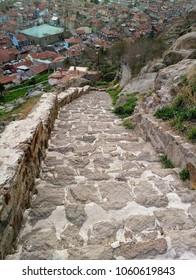 Stone stairway in the castle,Afyonkarahisar