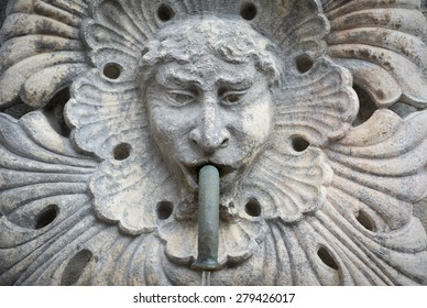 Stone statue face detail from Onofrio Fountain [built 1438] in Dubrovnik, Croatia