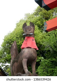 Stone statue of fox in Fushimi Inari Shrine (Japan: Kyoto).