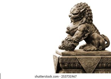 Stone statue. Guardian Lion Foo Fu dog guard