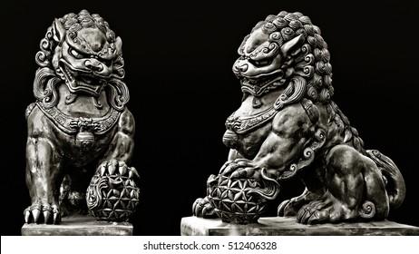 Stone statue. Guardian Lion Foo Fu dog guard. Buddhist sculpture.