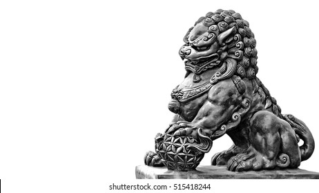 Stone statue. Guardian Lion Foo Fu dog guard.