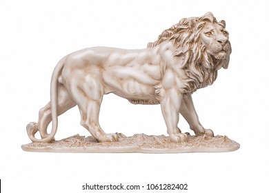 Stone Statue of Lion. Isolated on a white background