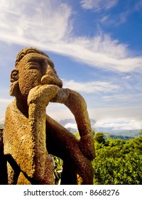 Stone statue on a costa rican background