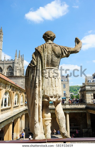 Stone statue of the roman in the Roman Baths, Baths, England