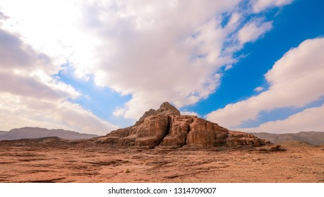 Stone Statue under the Blue Sky in the Timna National Park, Eilat, Israel