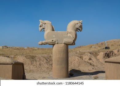Stone statue of Zoomorphic griffin (Twin Homa or Huma bird figures) in the Persepolis in Shiraz, Iran. The ceremonial capital of the Achaemenid Empire. UNESCO World Heritage