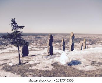 stone statues of Polovtsian women on top of the mountain Kremenets, Ukraine