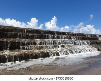 stone steps in Bajamar covered with overflow ocean water