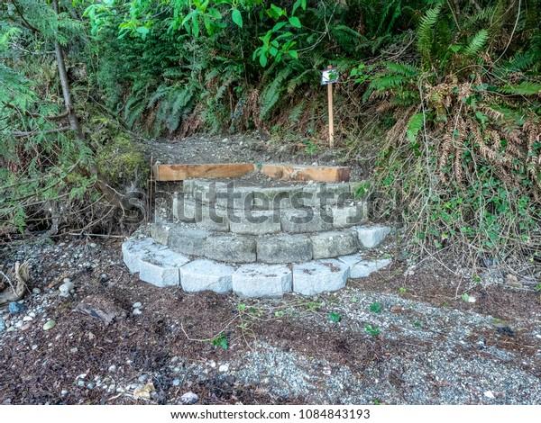 Stone Steps To Beach Along Puget Sound