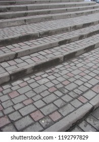 Stone steps. The concept of gradual climbing to the top in business, business