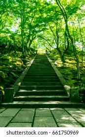 Stone steps in Jojakko-ji temple, Kyoto, Japan