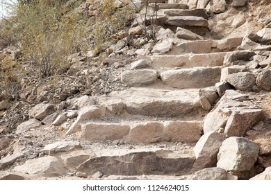 Stone steps on the trail up Camelback mountain in Scottsdale, Arizona