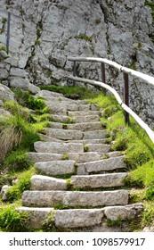 Stone steps on a trail, Mount Pilatus, Switzerland.