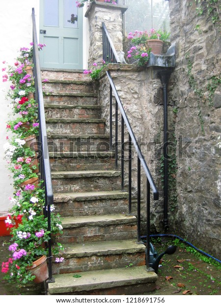 Stone Steps Pastel Front Door Flower Stock Photo Edit Now