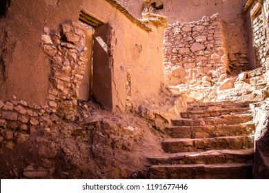 Stone steps in the traditional ancient Berber city. Africa Morocco Ait Ben Haddou