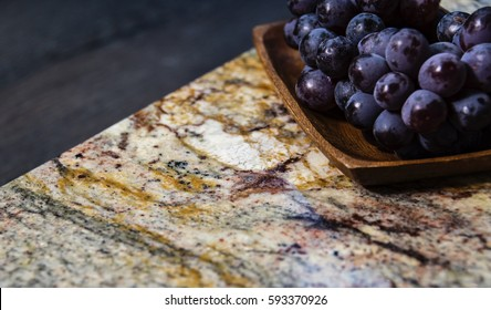 stone surface part of modern kitchen worktop made of granite natural stone, kitchen surface