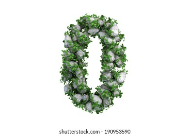 Stone symbol 0 covered with ivy, isolated