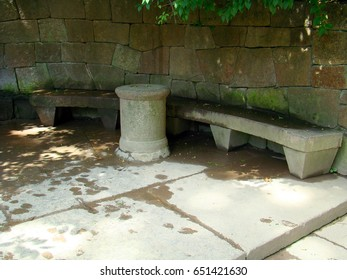 Stone table and bench