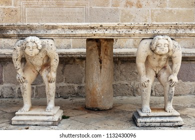 Stone table with Titans sculptures Our Lady of the Rocks Perast Montenegro