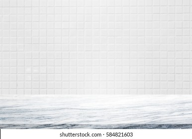 Stone table top and background of white ceramic tile wall - can used for display or montage your products.