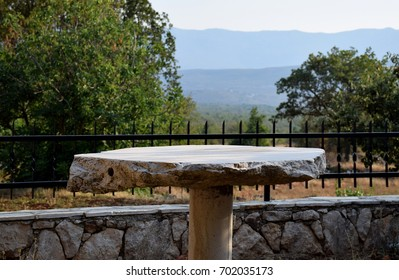 Stone table in the yard
