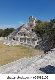 Stone temple at the ancient Mayan site of Edzna in Campeche state, Yucatan peninsula, Mexico.