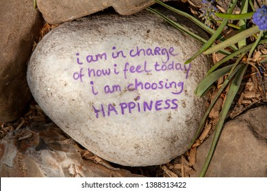 Stone with text; I am in charge of how I feel and today I am choosing happiness