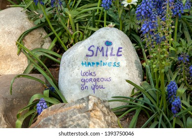 """Stone with text: """"Smile happiness looks gorgeous on you"""". Surrounded bij nature"""