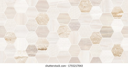 Stone texture design with hexagonal pattern,  geometric seamless,  cream and brown marbling surface, modern luxurious background
