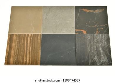 stone tiles samples on white background
