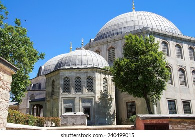 Stone tombs of the sultans,  outer walls of Hagia Sophia, in Istanbul, Turkey