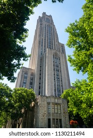 Stone tower of the Cathedral of Learning in Pittsburgh PA