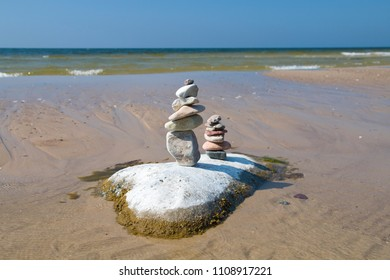 A stone tower on the beach in the Wolinski National Park. Miedzyzdroje, Poland.