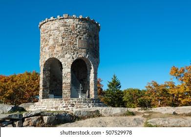 Stone tower at the peak of Mount Battie, Camden Hills State Park, Maine