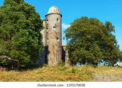 Stone tower of Vyborg Castle is historical landmark of City Vyborg, Leningrad Oblast, Russia. August 2018.