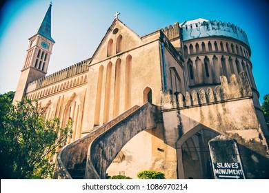 STONE TOWN, TANZANIA - January 2018: Anglican cathedral in Zanzibar near Slave Muzeum, Stone Town, Tanzania