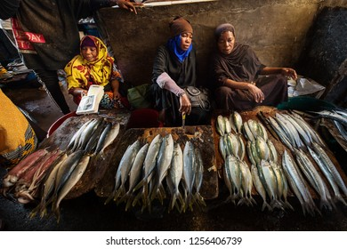 Stone Town, Zanzibar in 4 June 2018 - People buying and selling fishes in special market of Stone Town, Zanzibar