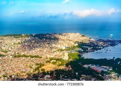 STONE TOWN, ZANZIBAR - AUGUST 12, 2017: Aerial photography of Stone Town in Zanzibar, Tanzania.