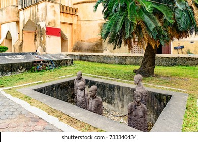 Stone Town, Zanzibar - August 14, 2017: Slavery Memorial at Old Slave Market/Anglican Cathedral in Stone Town, Zanzibar, Tanzania.