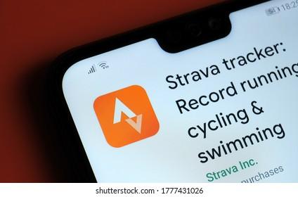 Stone / UK - July 15 2020: Strava tracker app seen on the corner of mobile phone.