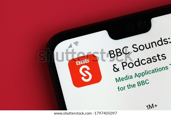 Stone / United Kingdom - July 30 2020: BBC Sounds app seen on the corner of mobile phone.