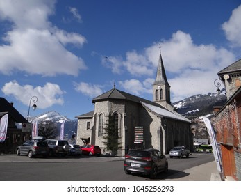 Stone Village church in alpine town of  Chatel, France
