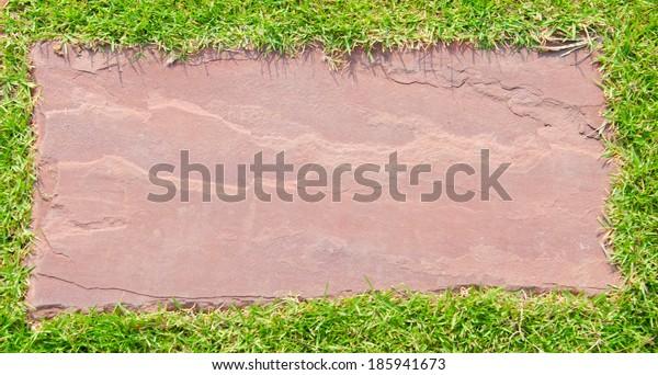 stone walkway on green background