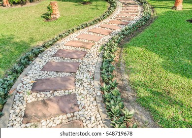 stone walkway in the outdoor green garden